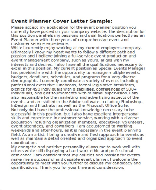 Event Designer Cover. Coverletter.us