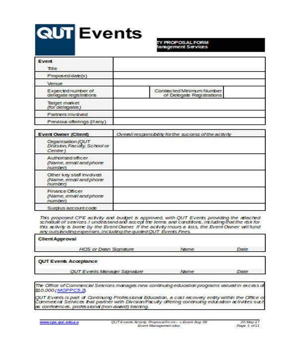 Event Management  Event Proposal Template Word