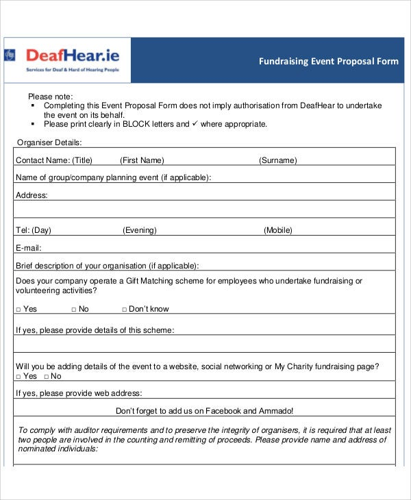 Fundraising Event Proposal Templates Free Sample Example
