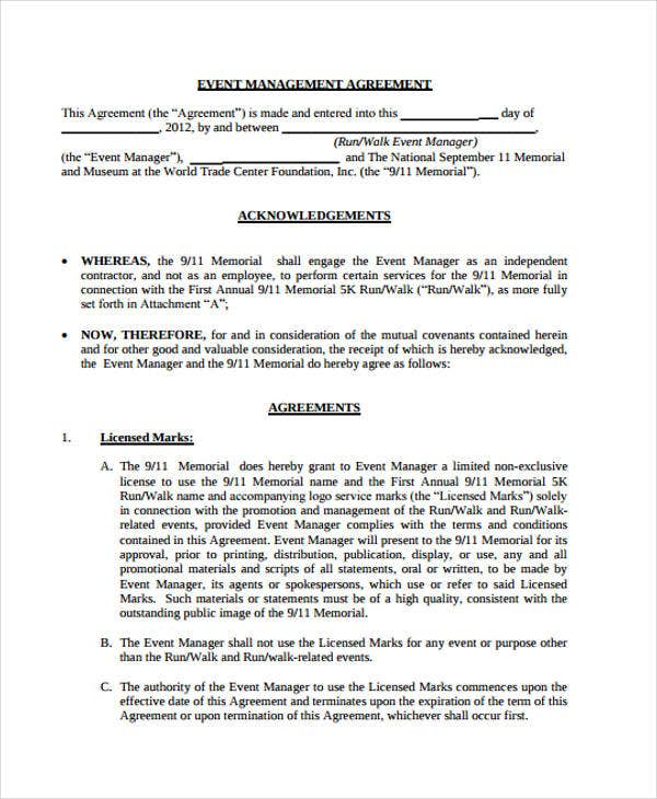 event management agreement template management agreement templates 11 free word pdf format