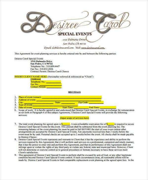 Perfect Event Planner Contract Sample