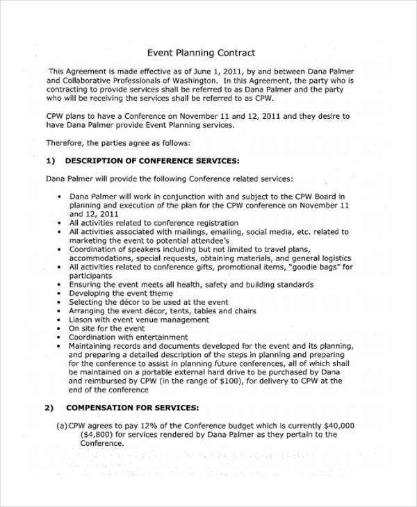 event planning contract samples 11  Event Contract Templates - Free Sample, Example Format ...