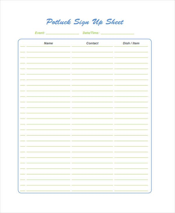 image about Printable Potluck Sign Up Sheet referred to as 12+ Potluck Signup Sheet Templates - Free of charge Pattern, Illustration
