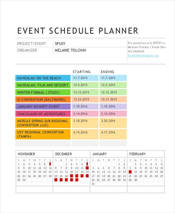 event schedule planner