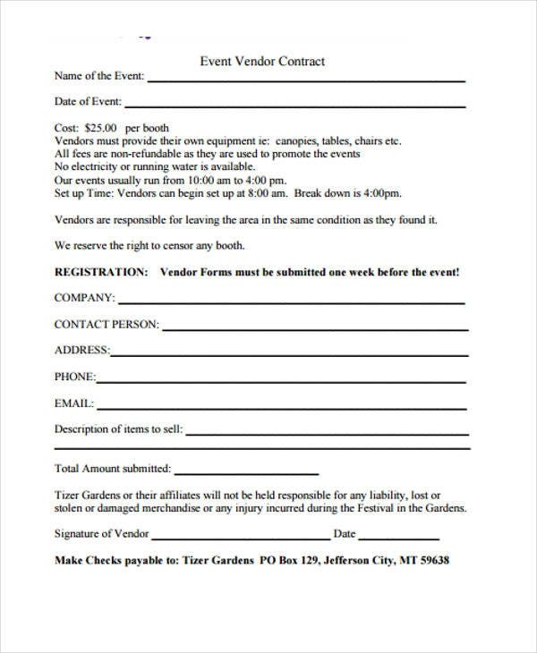 event vendor contract