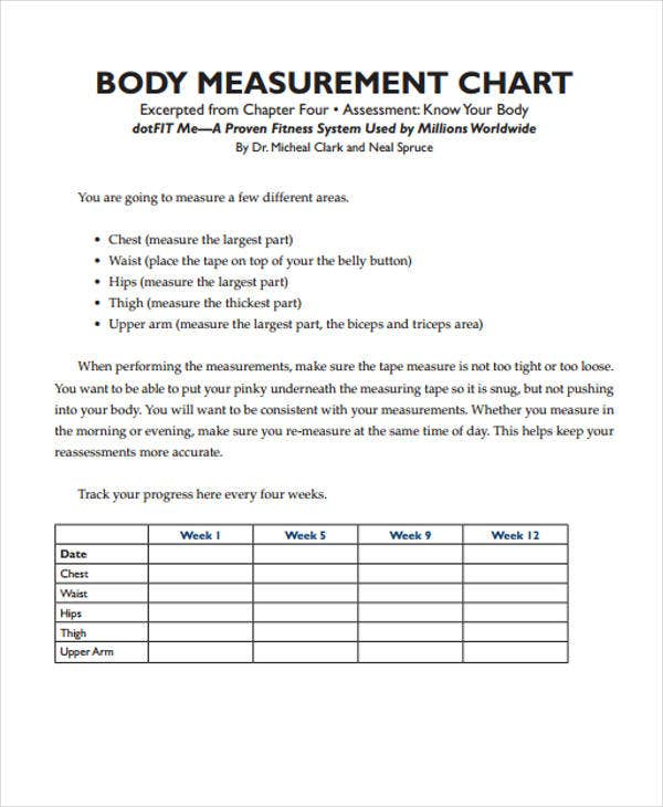 Measurement Chart Templates - 9+ Free Word, PDF Format Download ...