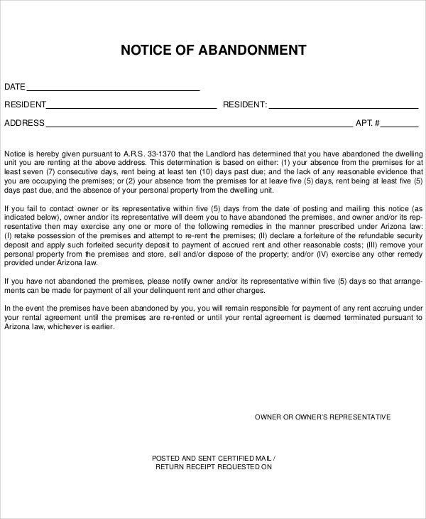 10 Abandonment Notice Templates Free Sample Example Format