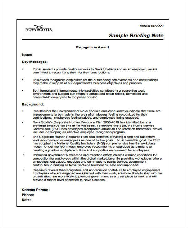 Briefing Note Templates  Free Sample Example Format Download