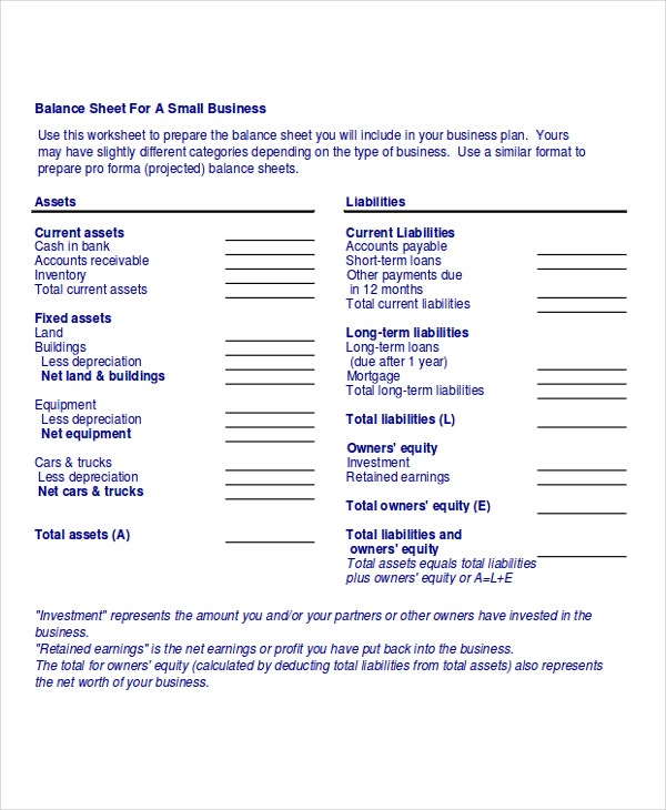 example of business sheet