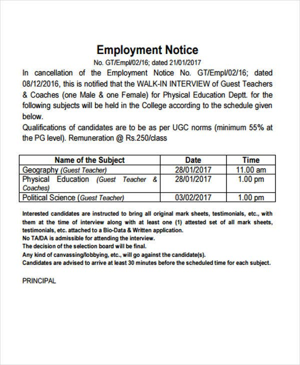 example of employment