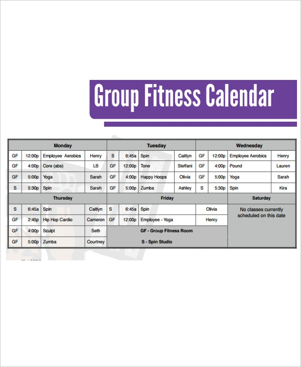 example of fitness calendar