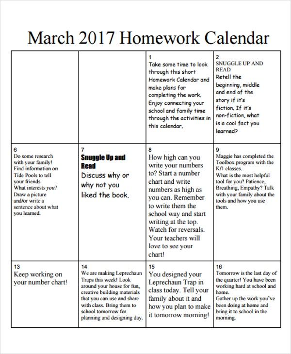 example of homework calendar