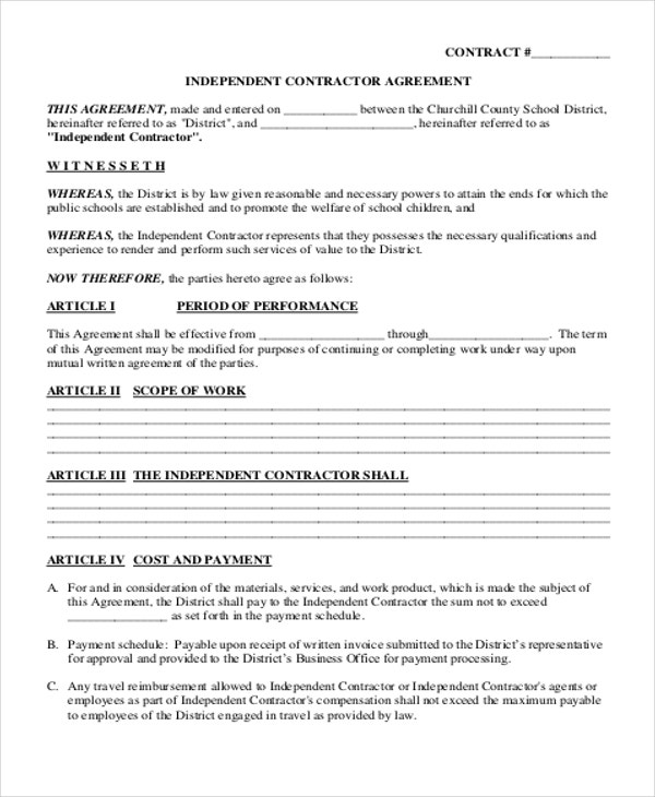 Independent Contract Templates  Sample Examples  Free