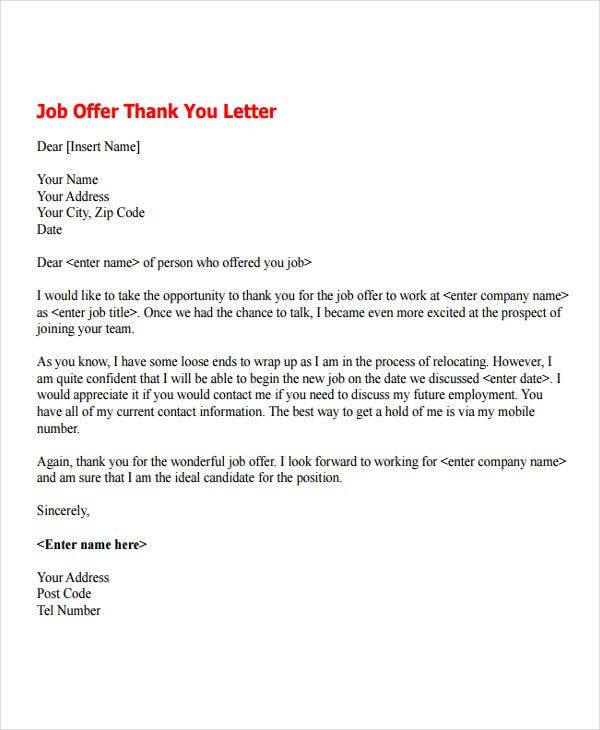 sample thank you letter after job offer