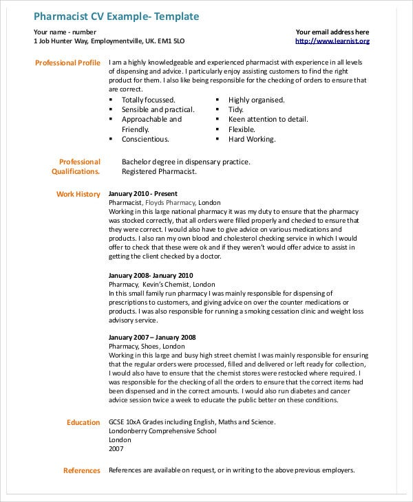Pharmacist Cv Example  Template