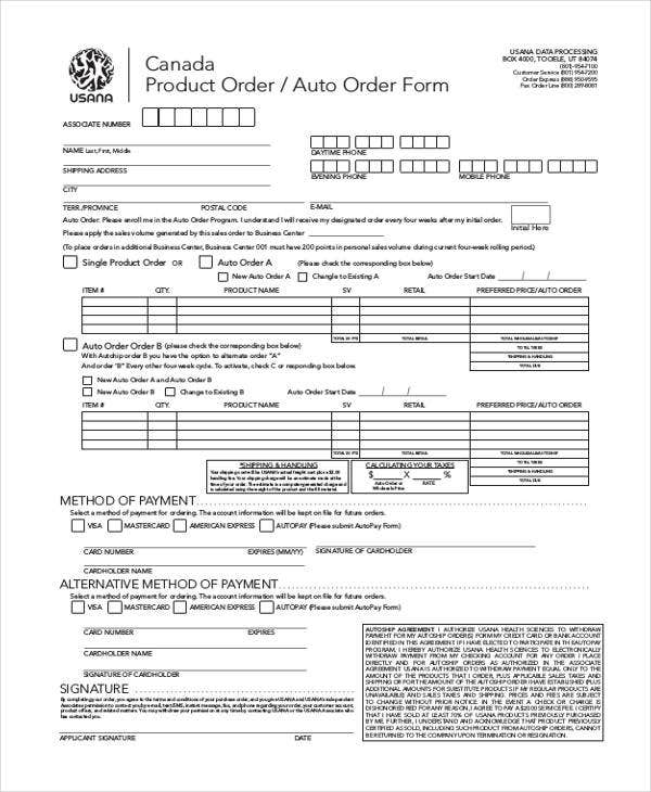 Example Of Product Order  Product Order Form Template