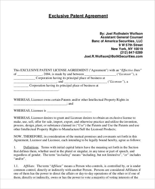 9 patent agreement templates free sample example format