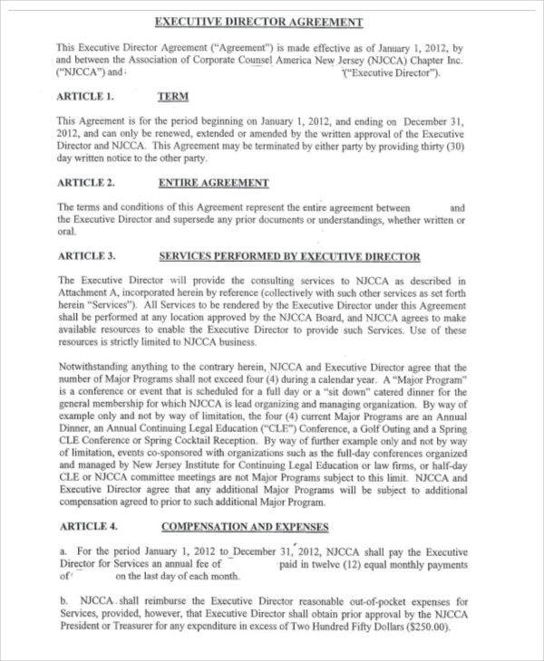 executive director agreement