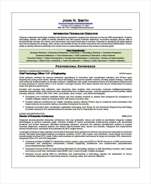 executive director it resume