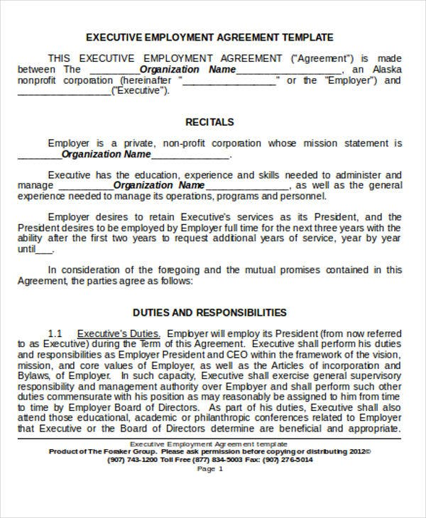 36 Agreement Templates in Word – Executive Employment Agreement