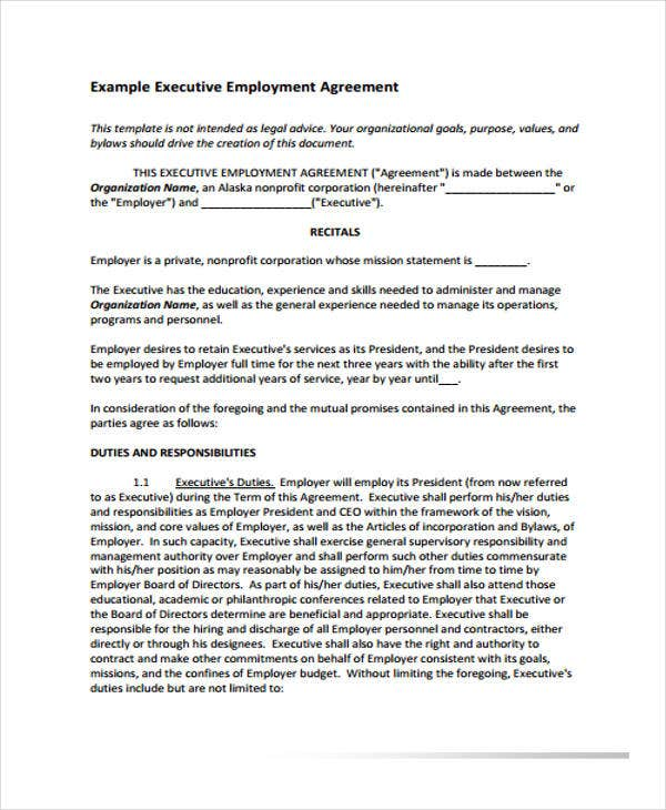 Employment Agreement Templates 8 Free PDF Format Download – Executive Employment Agreement