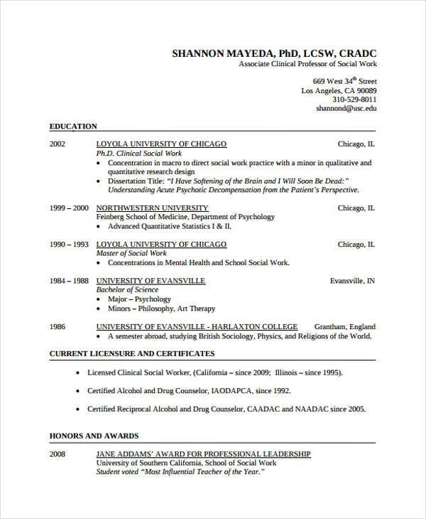 Examples Of Social Work Resumes | Example Resume And Resume