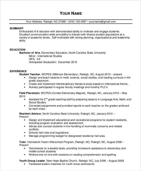 experienced teacher resume sample