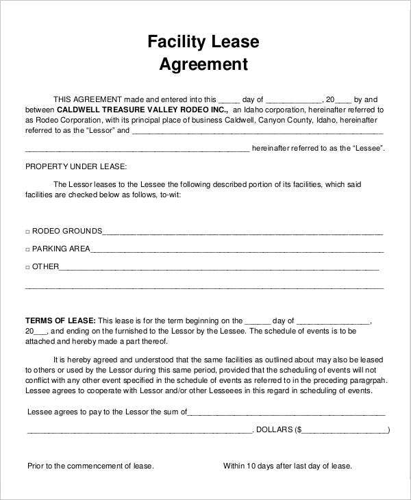 9 Facility Agreement Templates Free Sample Example Format – Parking Lease Template