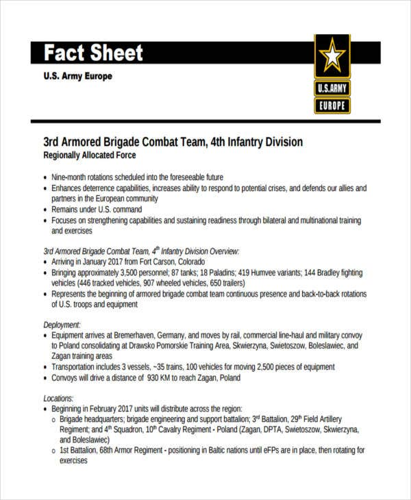 fact sheet for army