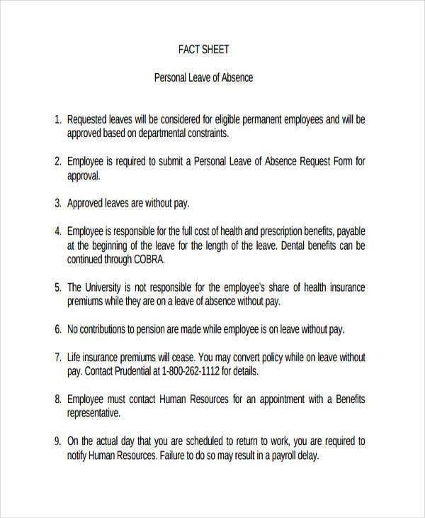 fact sheet for personal leave