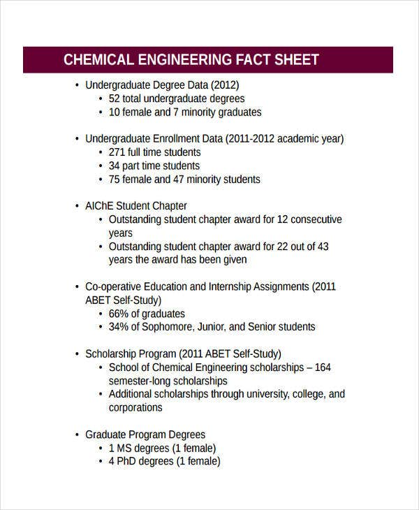 fact sheet of chemical engineering