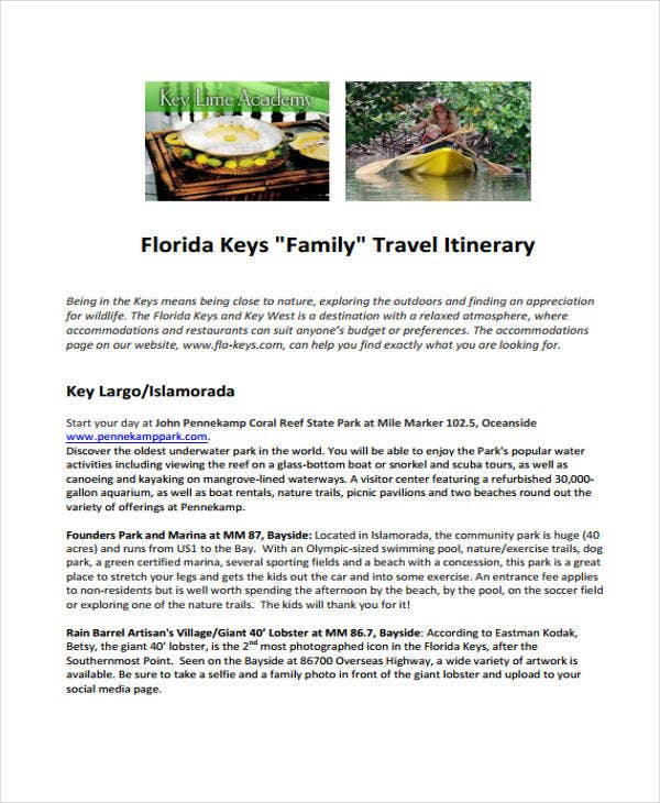 family travel sample
