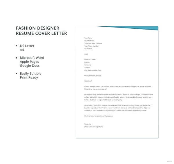Fashion Designer Resume Cover Letter Template