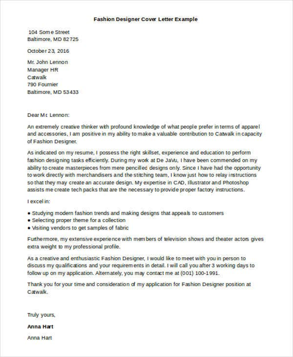 cover letter for fashion designers Use this free professional fashion design cover letter as inspiration to writing your own fashion design cover letter for a job application and resume to get hired.