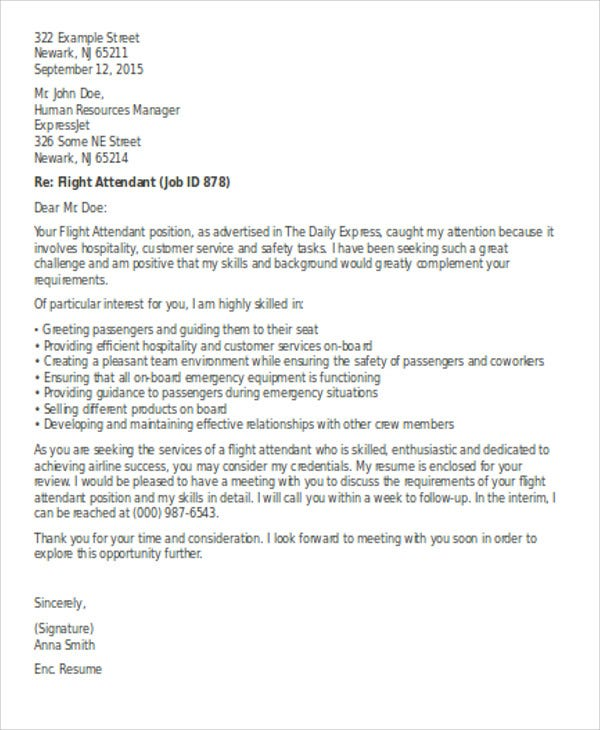 Flight Attendant Cover Letter   Free Word Pdf Format Download