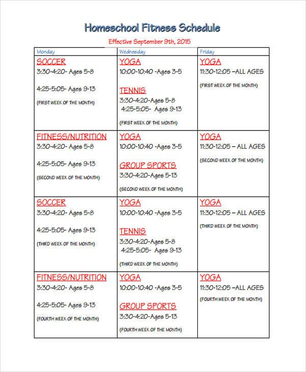 fiitness schedule