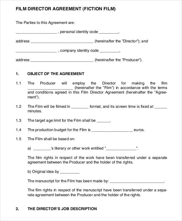 Director Agreement Templates  Free Sample Example Format