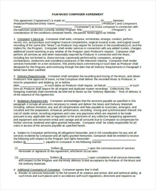 Music Contract Template Professional Reference Letter For College