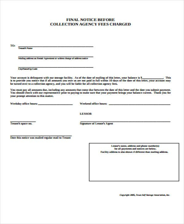 Collection Notice Templates   Free Word Pdf Format Download