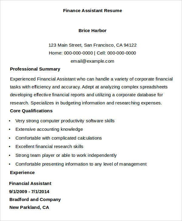 Finance Assistant Resume