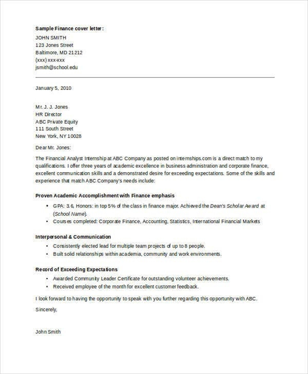 Internship Cover Letter   Free Word Pdf Format Download  Free