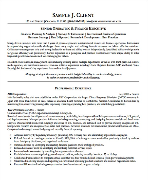 Good Finance And Operations Resume Inside Director Of Operations Resume