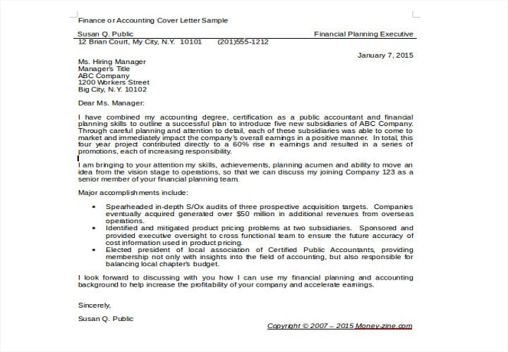 finance or accounting cover letter sample