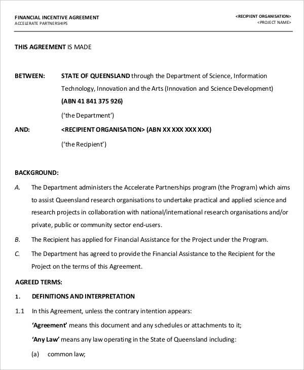 financial agreement2