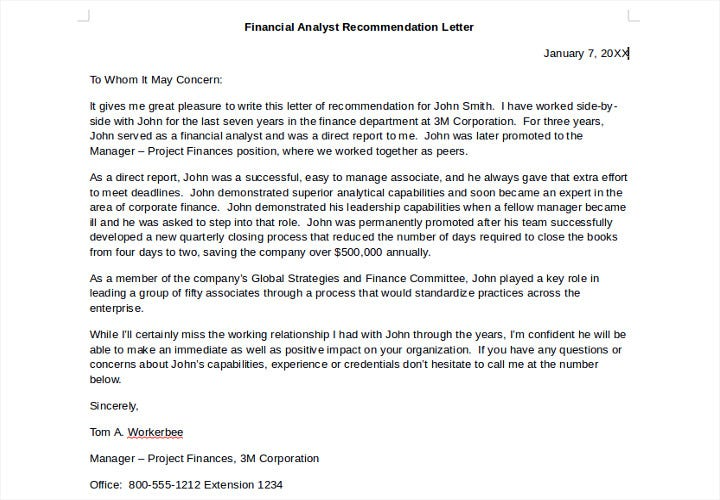 financial analyst recommendation letter