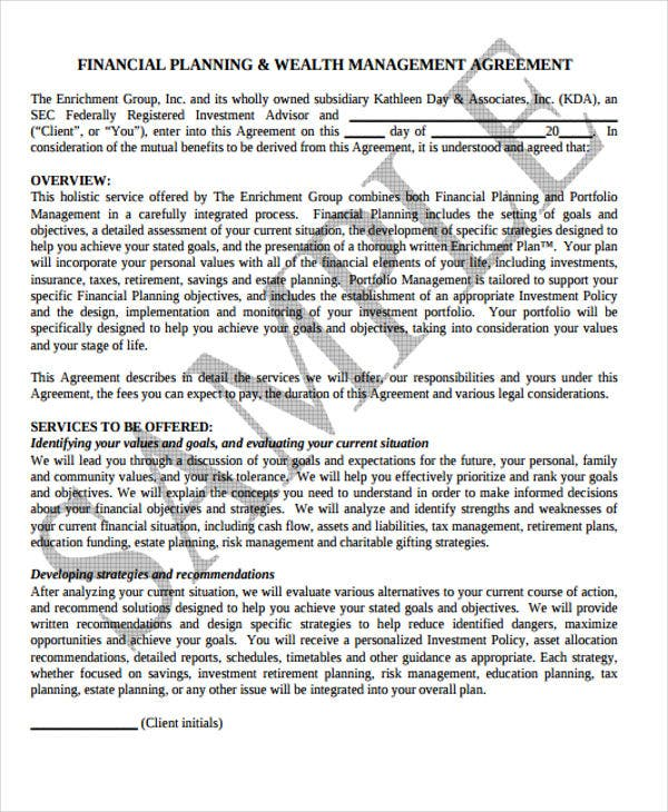 37 basic agreement templates free premium templates financial planning wealth management platinumwayz