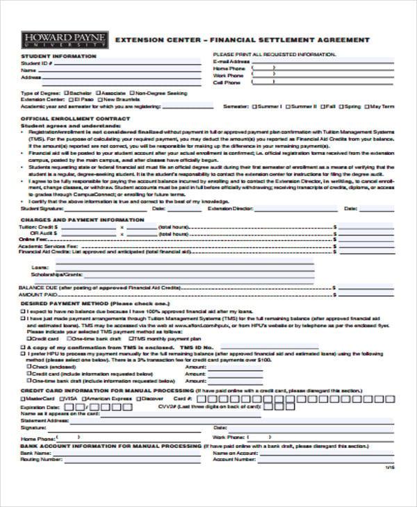 financial settlement