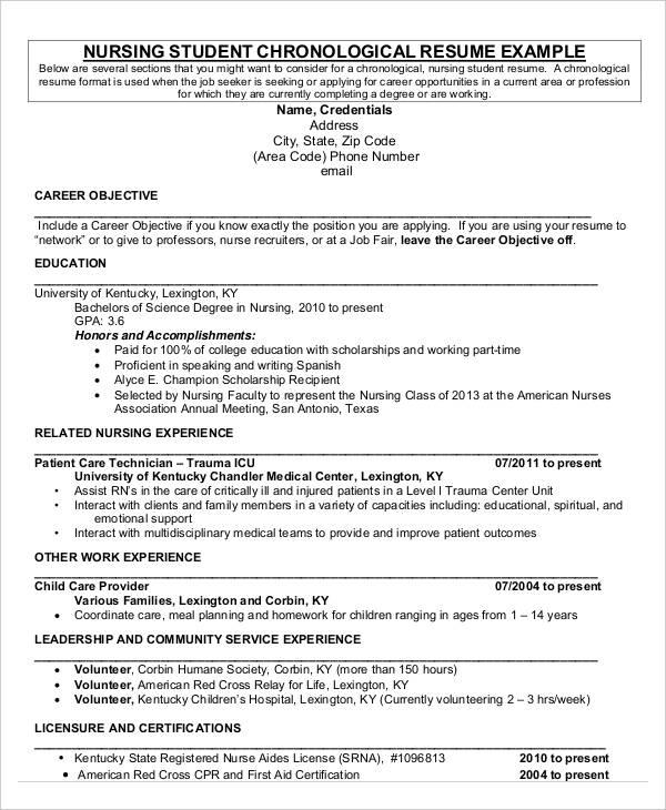 First Nursing Student Resume