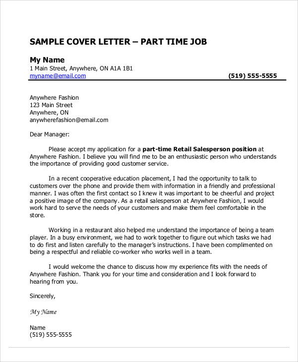 part time job. Resume Example. Resume CV Cover Letter