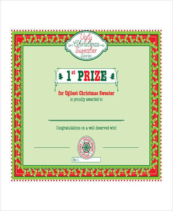 first prize winner certificate